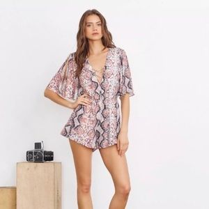Lovers + Friends Dusty Python Print Romper